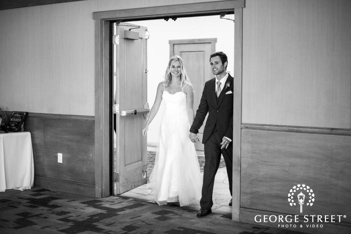 bride and groom reception entrance coronado community center san diego wedding photos