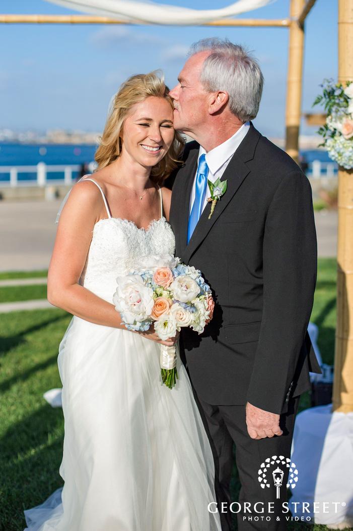 coronado community center san diego cute bride and father moment wedding photos