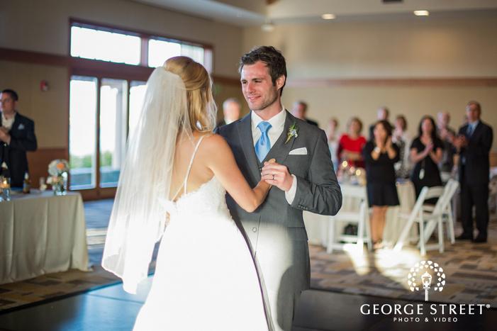 joyful bride and groom first dance coronado community center san diego wedding photos