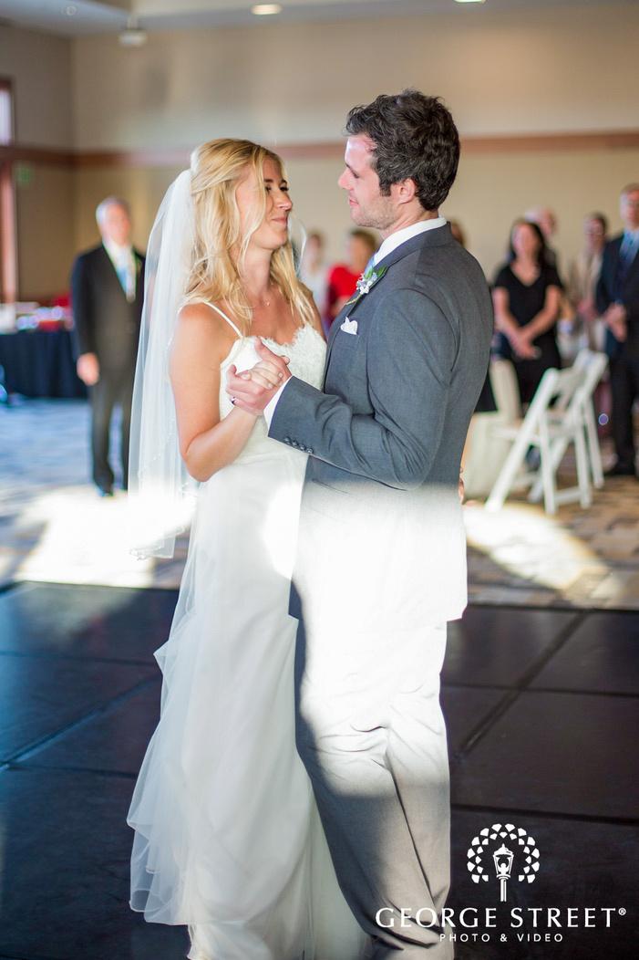 romantic bride and groom first dance coronado community center san diego wedding photos