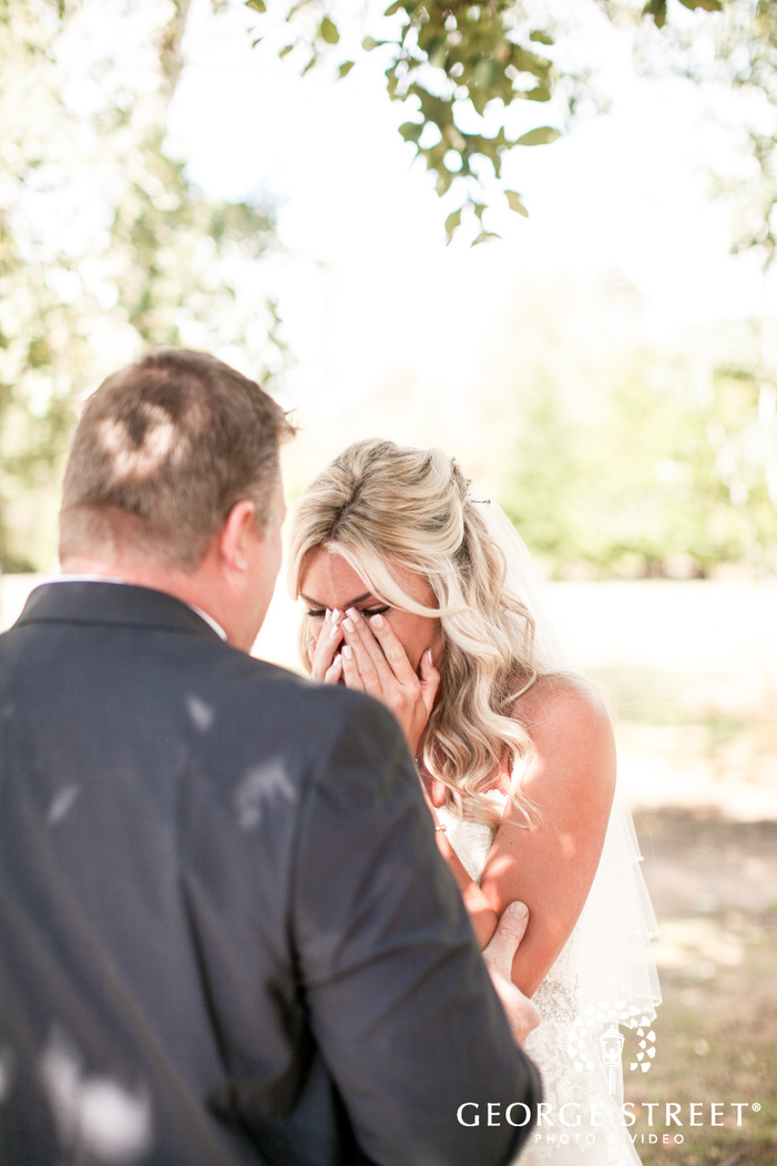 pickering barn seattle rustic wedding outdoor bride and father first look