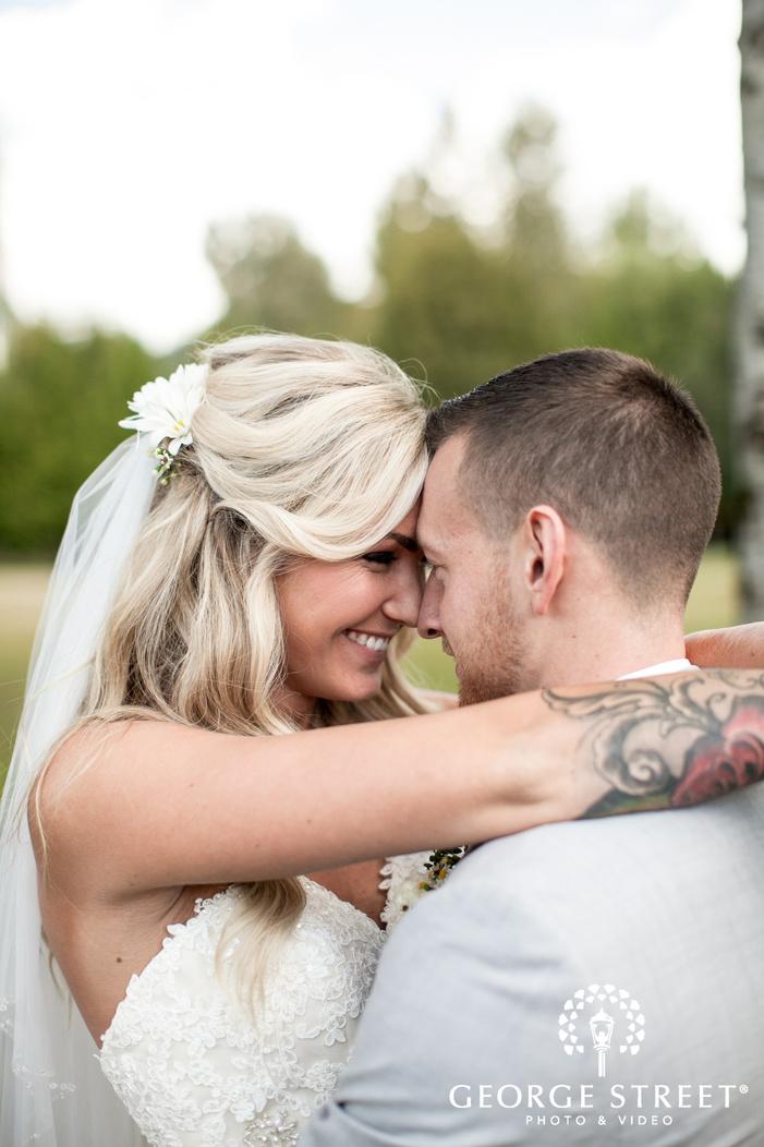 pickering barn seattle rustic wedding outdoor bride and groom portraits