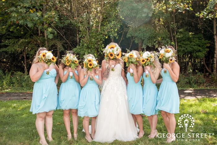 pickering barn seattle rustic wedding outdoor bridesmaid portraits