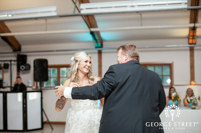pickering barn seattle wedding reception bride and father dance