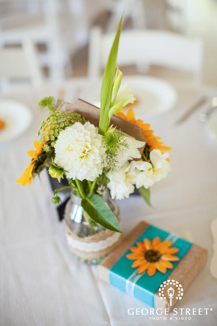 pickering barn seattle wedding reception sunflower table decor
