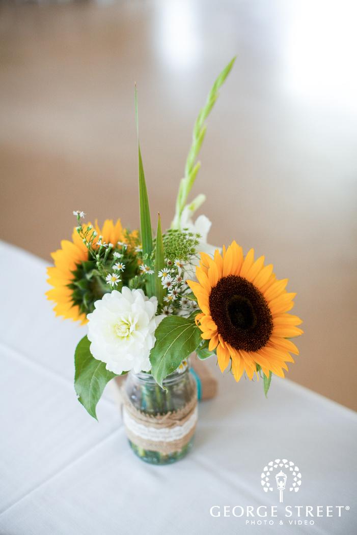 pickering barn seattle wedding sunflower table decor