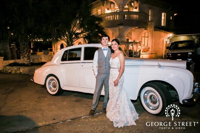 cute bride and groom outside villa antonia in austin