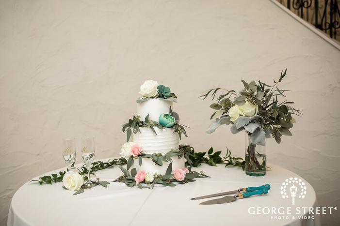 elegant four tier white flower wedding cake wedding photos