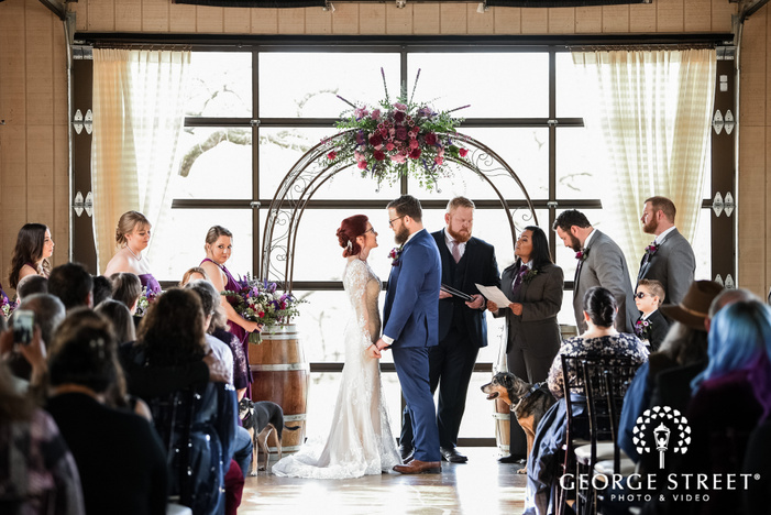 beautiful wedding ceremony at lost oak winery in dallas fort worth