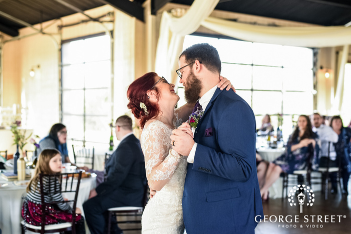 blissful bride and groom first dance wedding photography