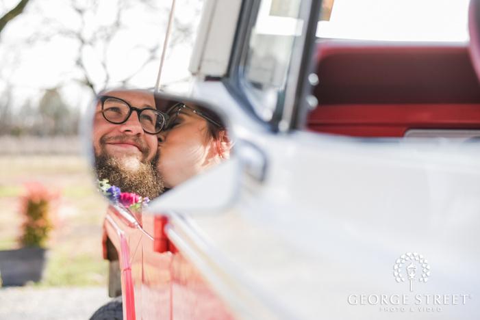 cute bride and groom in mirror wedding photo