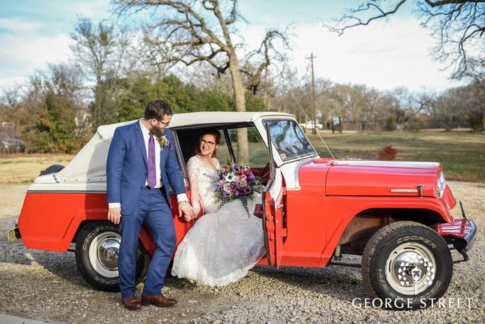 elegant bride and groom in car wedding photo