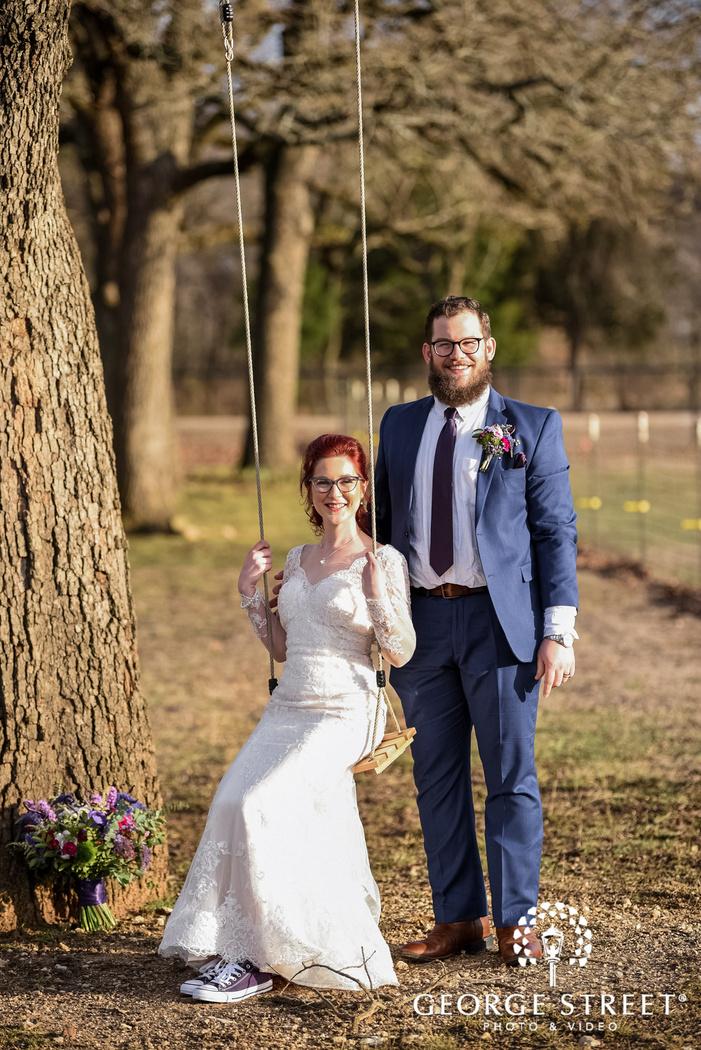 joyous bride and groom in lawn wedding photo