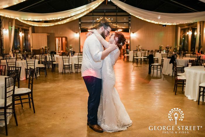 lovely bride and groom on dance floor wedding photo