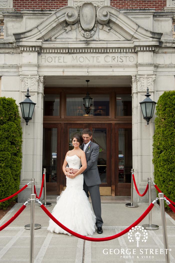 Hotel Monte Cristo entrance wedding portraits