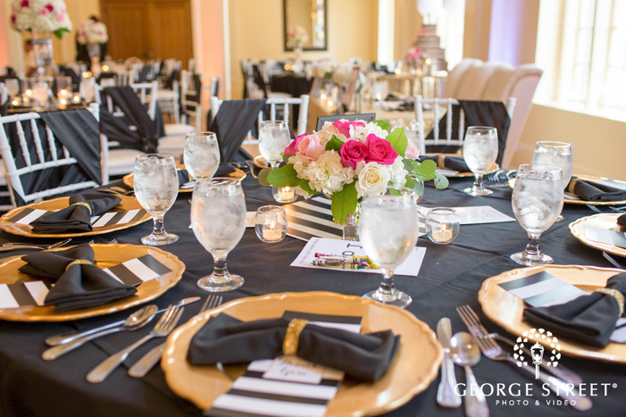 black white and gold wedding table setting