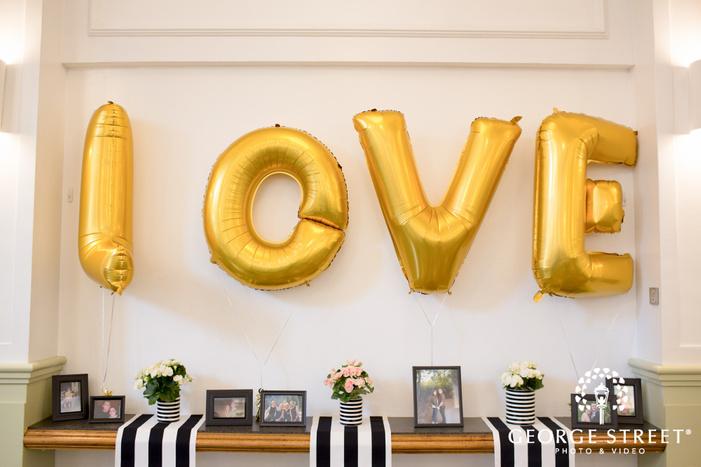 fun gold love wedding balloons