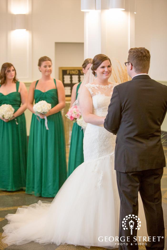 happy bride indoor ceremony