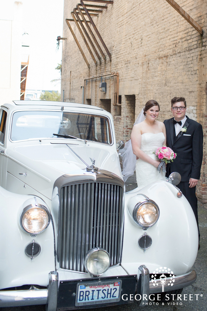 oldfashioned car wedding portrait prop