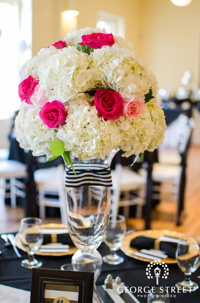 rose and hydrangea floral wedding centerpiece
