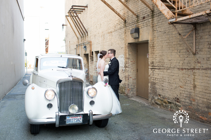 unique wedding portrait in alley