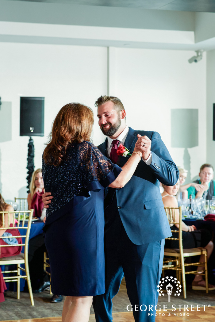 charming groom with mother reception dance wedding photo