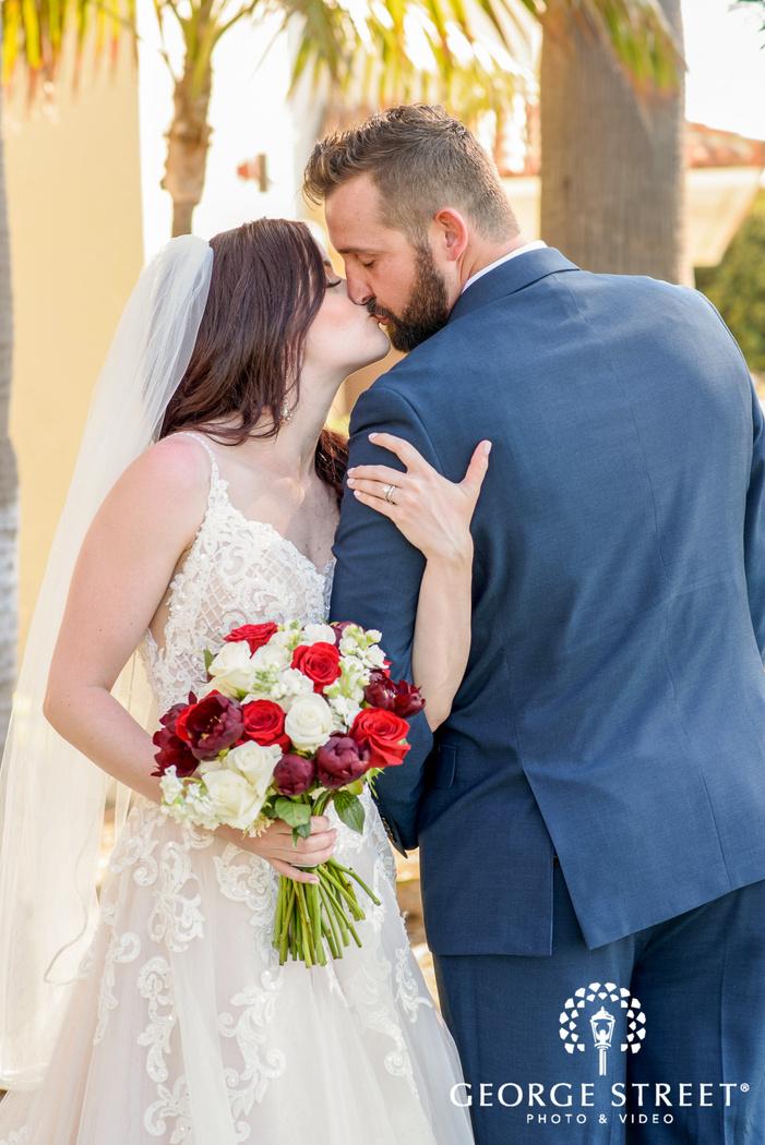gorgeous couple in garden wedding photography