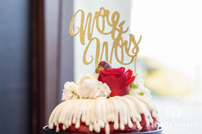 lovely gold wedding cake topper reception details