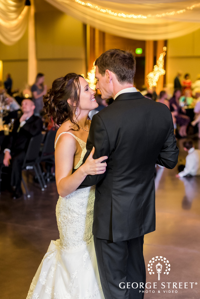 lovely bride and groom first dance wedding photo