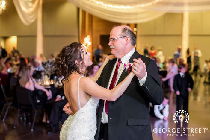 sweet bride and father wedding photos