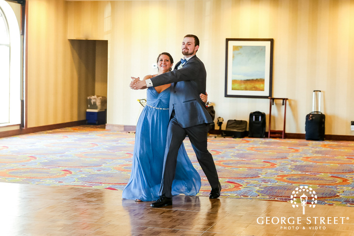joyful bridesmaid and groomsman entrance in reception party at minneapolis marriott northwest wedding photo