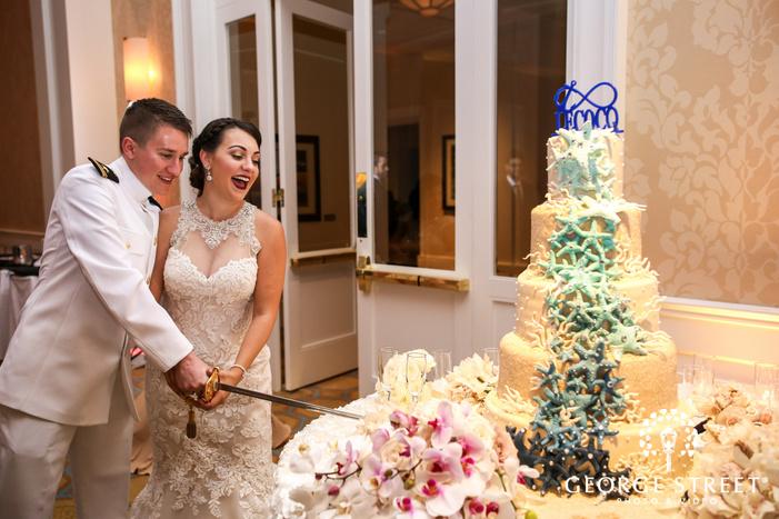 belo mansion dallas wedding reception cake cutting