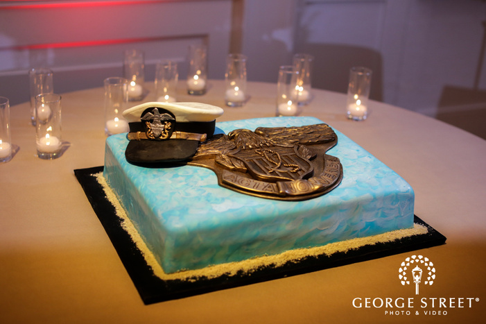 belo mansion navy themed wedding cake dallas