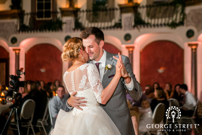 blissful bride and groom reception dance wedding photo