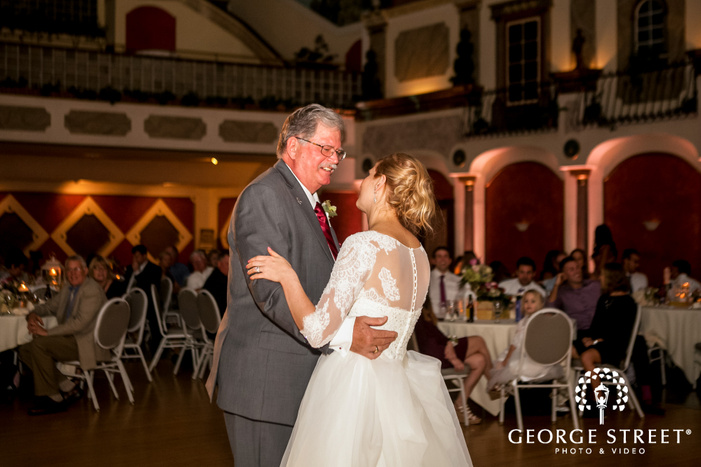gorgeous bride and father at reception dance