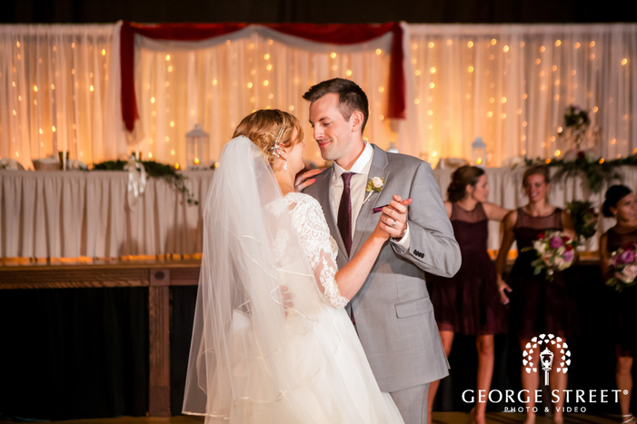 pretty bride and groom reception dance at fountain square theatre in indianapolis