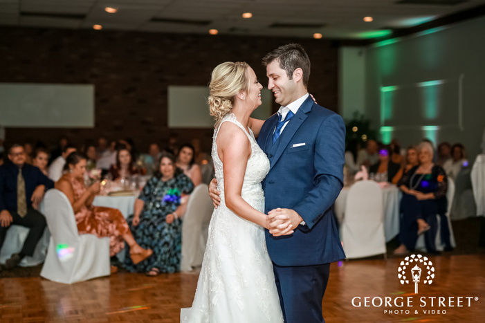 blissful bride and groom first dance at harmar house in pittsburgh