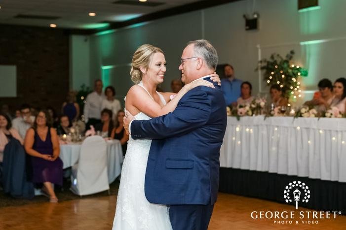 joyful bride and father reception dance wedding photo