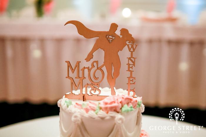 romantic cake topper wedding photo
