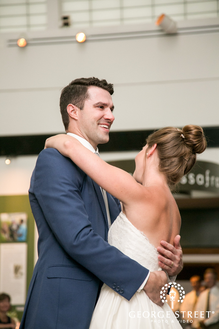 Missouri Botanical Garden St  Louis wedding reception bride and groom first dance