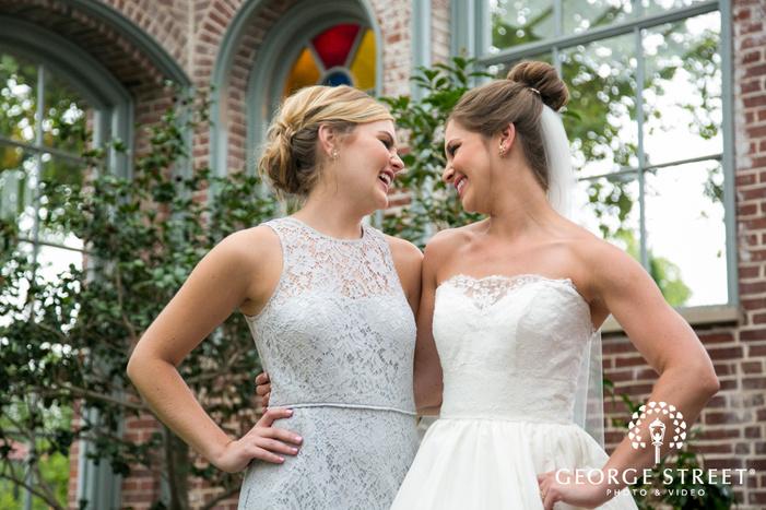 missouri Botanical Garden St  Louis wedding beautiful bridesmaid portraits