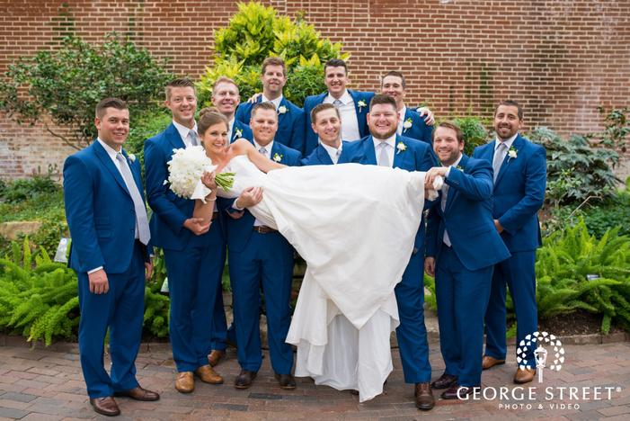 missouri Botanical Garden St  Louis wedding groomsmen and bride portrait