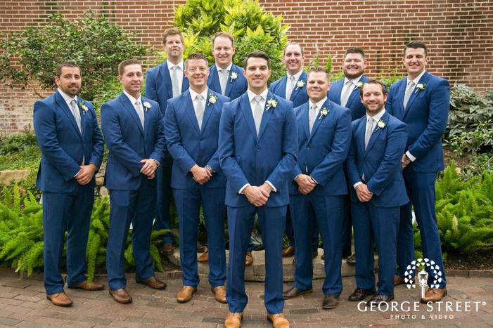 missouri Botanical Garden St  Louis wedding groomsmen portrait