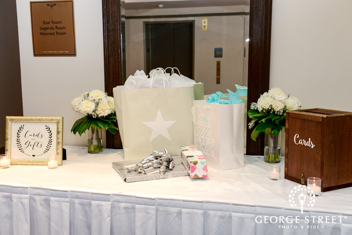 sweet gifts and card table wedding photo