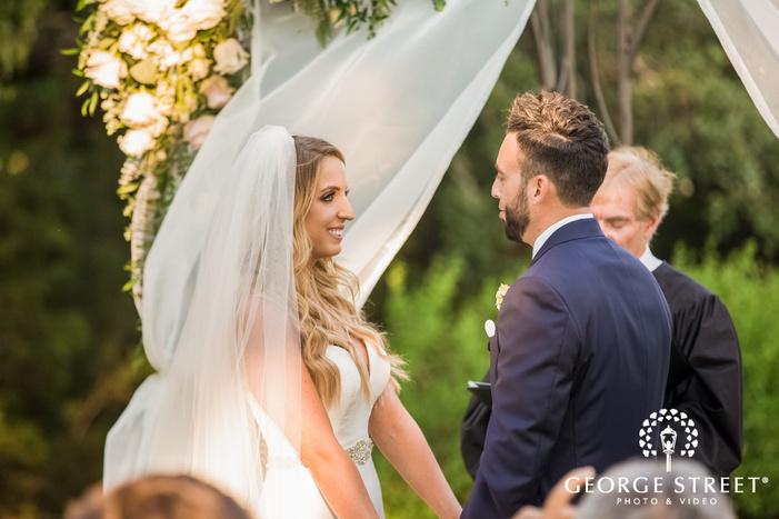 cheerful bride and groom wedding vows exchange wedding photo