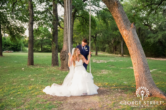 romantic bride and groom at kindred oaks in austin