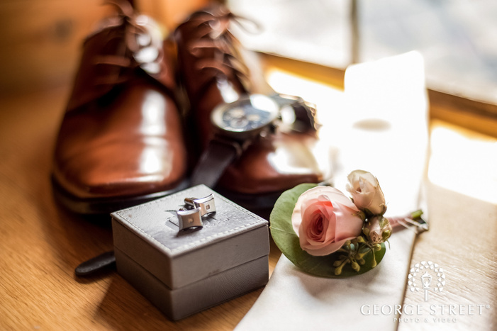 elegant groom accessories wedding photo