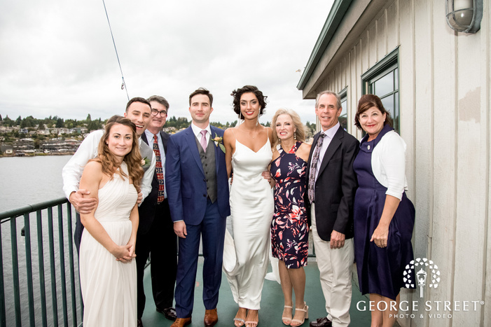 adorable bride and groom at lake union crew in seattle