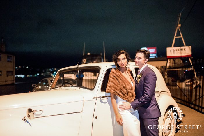 charming bride and groom with car wedding photography