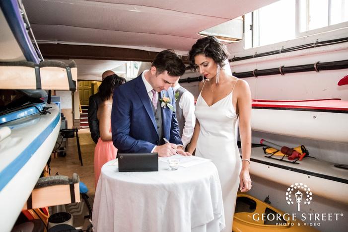 cute bride and groom at wedding ceremony